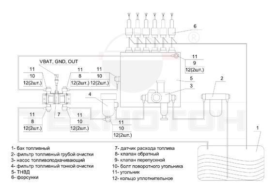 Схема установки дифференциального (двухкамерного) датчика DFM